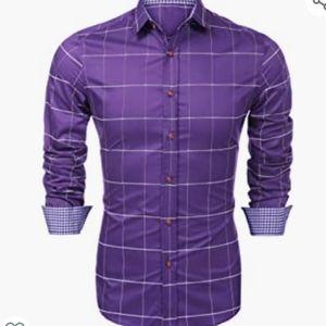 NWT Coofandy purple check buttondown shirt